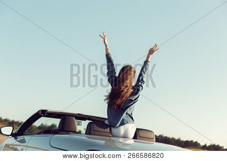 Happy Traveler Woman In Cabrio Car. Object. Macro Photography. Close Up