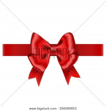 Red Bow With Ribbon Isolated On White Background. Vector Rose Bow For Gift Box Decor. Top View Of Ch