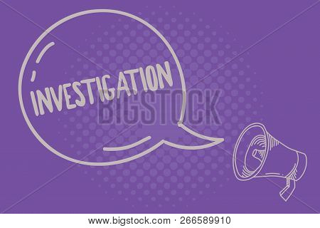 Text Sign Showing Investigation. Conceptual Photo Formal Inquiry Or Systematic Study Process Of Prob