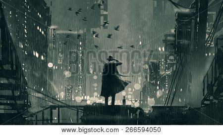 Film Noir Concept Showing The Detective Holding A Gun To His Head And Standing On Roof Top At Rainy