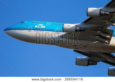 Amsterdam - Jan 16, 2012: Klm Royal Dutch Airlines Boeing 747 Jumbo Jet Airplane Taking Off From Sch