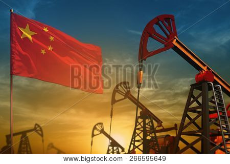 China Oil Industry Concept, Industrial Illustration. Fluttering China Flag And Oil Wells On The Blue