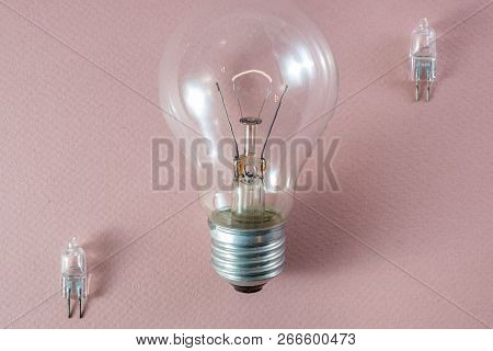 Two G4 Bipin Halogen Lamps And A Tungsten Filament Bulb Arranged Diagonally On A Pink Background Sho