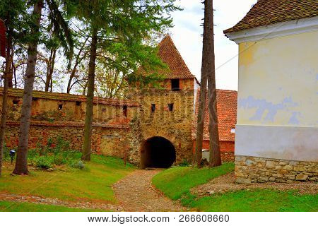 Courtyard Of The Medieval Fortified Saxon Church In The Village Crit, Transylvania, Romania
