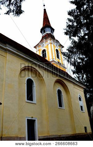 Medieval Fortified Saxon Church In The Village Crit, Transylvania, Romania