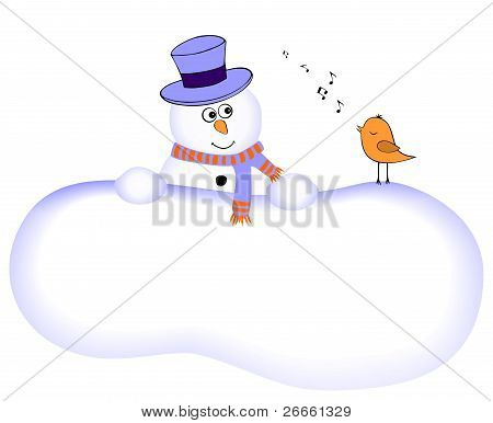 Funny snowman with singing bird