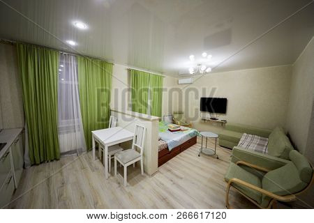 KAZAN, RUSSIA - DEC 7, 2017: Interior of mordern room divided into zones in hotel Apartments on Bauman. Apartments located near Kazan Kremlin and Kul Sharif Mosque.