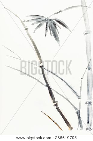 Hand Painting In Sumi-e Style On Cream Paper - Bamboo Bush Drawn By Black And Brown Watercolors