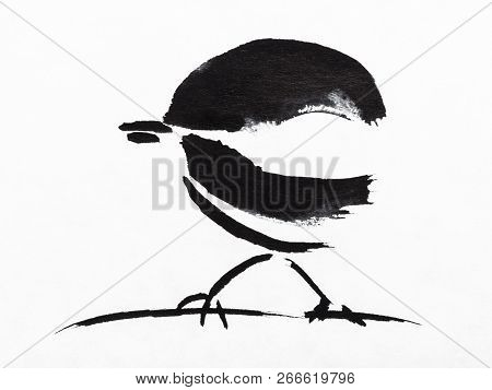 Hand Painting In Sumi-e Style On White Paper - Sparrow On Twig Drawn By Black Indian Ink