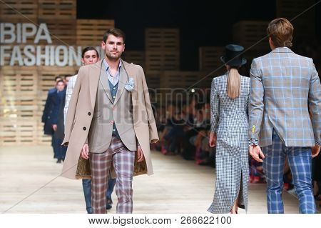 Zagreb, Croatia - October 27, 2018 : Fashion Models Wearing Clothes For Autumn-winter, Designed By I
