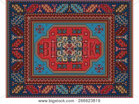 Variegated Pattern Of A Luxury Old Oriental Carpet With Red,brown And Blue Shades On White Backgroun