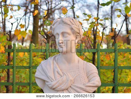Statue Of Tiberius Julius Caesar Augustus In Summer Garden At Evening, St.petersburg, Russia. Second