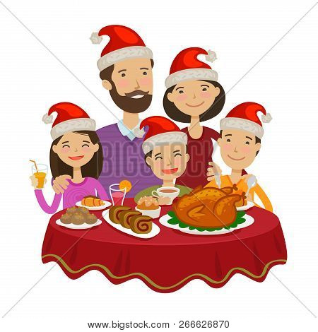 Happy Family Celebrates Christmas. Holiday Concept. Cartoon Vector Illustration