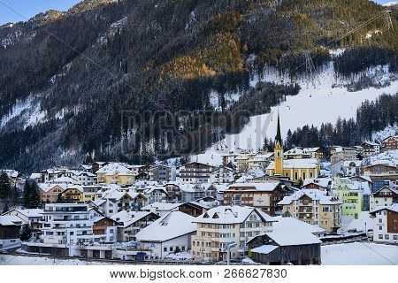 Ischgl, Austria - December 29, 2017: Ischgl In Nightfall, View From Hill Top. Evening In Small Town