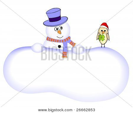Funny snowman with lucky bird