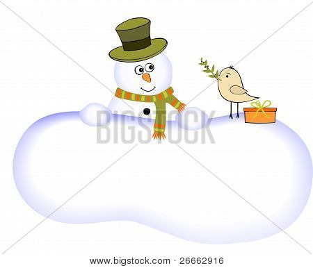 Funny snowman and bird with olive branch