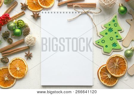 A Form To Write A Letter Of Congratulations. Planning A New Year Party Concept. Open Notebook With B