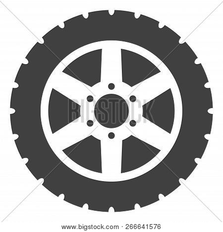 Tire Wheel Icon On A White Background. Isolated Tire Wheel Symbol With Flat Style.