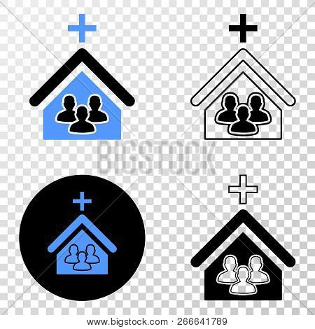 Church People Eps Vector Pictogram With Contour, Black And Colored Versions. Illustration Style Is F