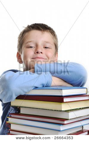 A little cute kid and large number of books