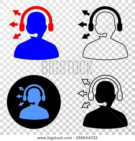 Radio Operator Eps Vector Pictogram With Contour, Black And Colored Versions. Illustration Style Is
