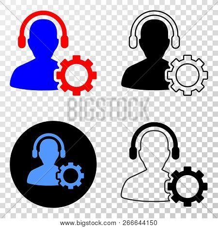 Service Call Center Eps Vector Icon With Contour, Black And Colored Versions. Illustration Style Is