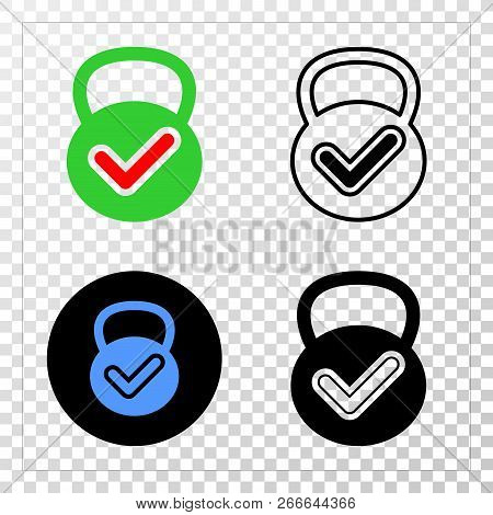 Valid weight EPS vector icon with contour, black and colored versions. Illustration style is flat iconic symbol on chess transparent background. poster