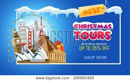 Christmas Tours Travel Promo Banner Design Template. Vector Illustration