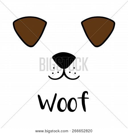 Dog woof vector illustration drawing with writing. Black outlines of dog's head, Cute puppy face with snout, ears and mouth. Isolated on white background.