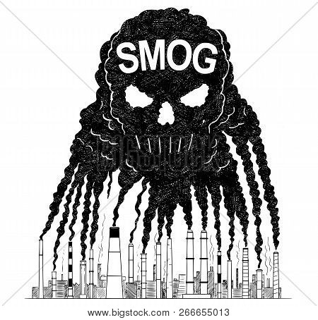 Vector artistic pen and ink drawing illustration of smoke coming from industry or factory smokestacks or chimneys creating human skull shape into air. Environmental concept of toxic and deadly smog and air pollution. poster