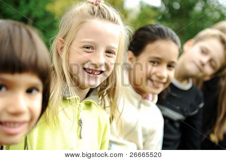 Portrait of happy kids outdoor