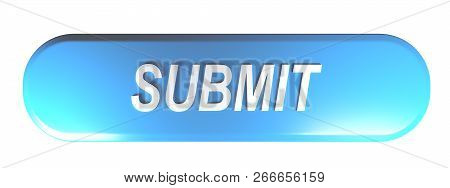 Blue Rounded Rectangle Pushbutton Submit - 3d Rendering Illustration