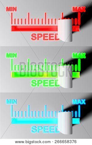 Level Selector For Speed - 3d Rendering Illustration