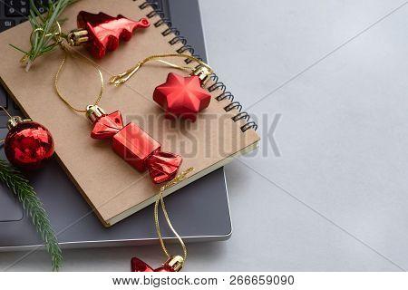 An Arrangement Of Christmas Decorations. Christmas Background.