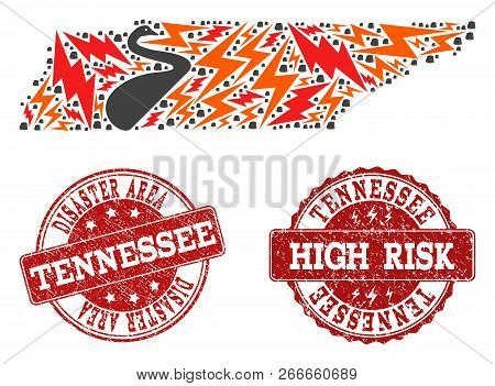 Disaster Collage Of Mosaic Map Of Tennessee State And Scratched Seal Stamps. Vector Red Seals With D
