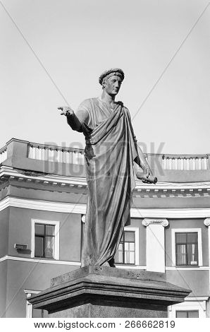 Monument To Duke De Richelieu, Mayor Of Odessa. First Monument In Odessa, Opened In 1828. Odessa, Uk
