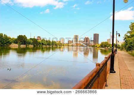 Skyline Of Rochester New York Beautiful Summer Day
