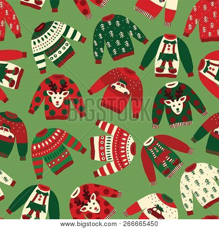 Ugly Christmas Sweaters Seamless Vector Pattern. Knitted Winter Jumpers With Norwegian Ornaments And