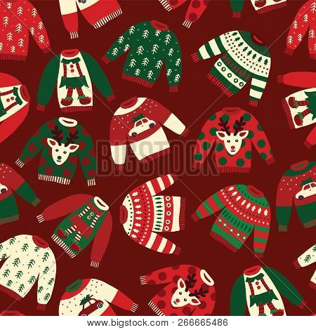 Seamless Vector Ugly Christmas Sweaters Pattern. Knitted Winter Jumpers With Norwegian Ornaments And