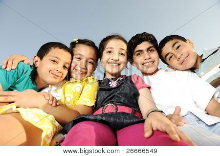 Happiness without limit, happy children together outdoor
