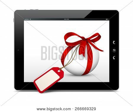 White Sphere With Red Bow, Blank Gift Coupon And Ebook Reader With 3d Effect. Isolated On White Back