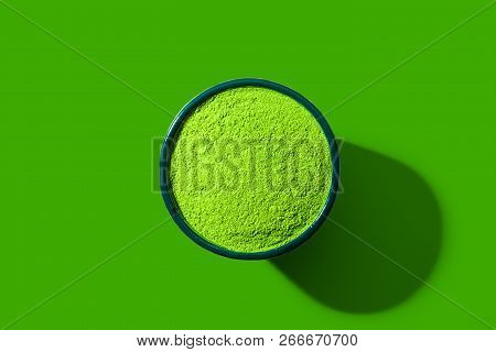 Matcha Green Tea Flat Lay, View From Above, In An Exaggerated Pop Art Style