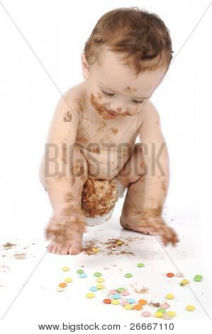 Cute messy baby