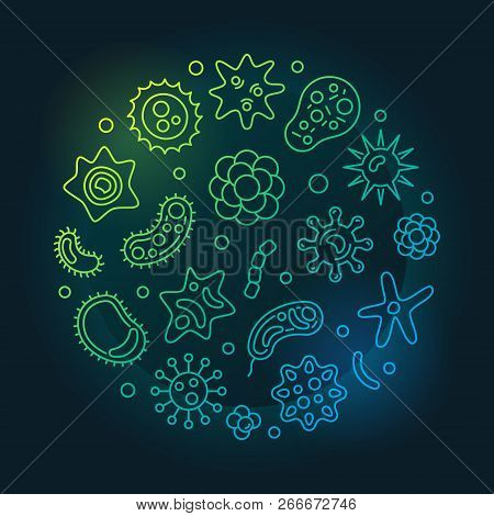 Human Microbiota Round Vector Colorful Concept Illustration In Thin Line Style On Dark Background