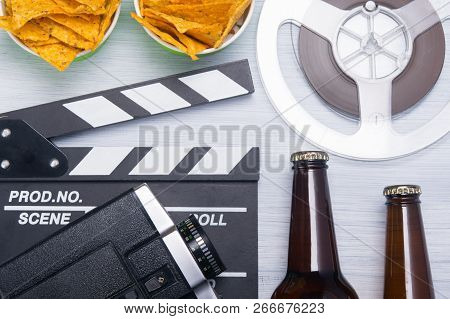 Background For Relaxing While Watching A Movie With Beer And Snack On A Light Background