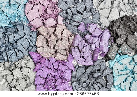 Macro Of Cracked Eye Shadow, Multicolor Collection