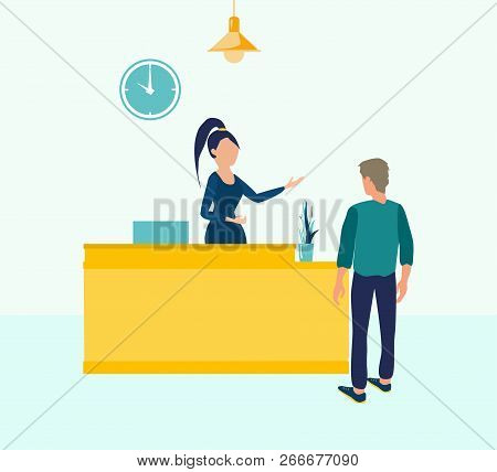 Customer At Reception. Young Woman Receptionist Standing At Reception Desk. Vector Illustration In F