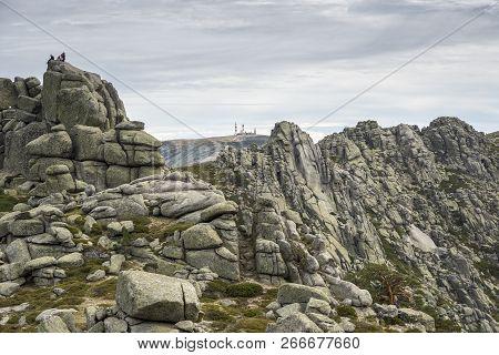 Hikers In Siete Picos (seven Peaks) Range, In Madrid, Spain, On October 24, 2015. It Is One Of The M