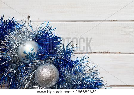 Blue And Silver Christmas Decorations.