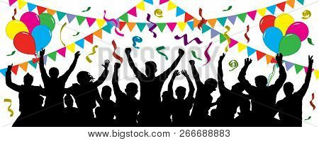 Crowd Of Fun People On Party, Holiday. Cheerful Event. People Having Fun Celebrating. Balloons, Ribb